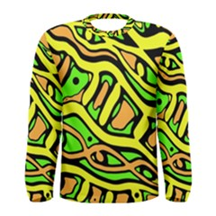 Yellow, green and oragne abstract art Men s Long Sleeve Tee