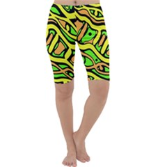 Yellow, green and oragne abstract art Cropped Leggings