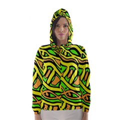 Yellow, green and oragne abstract art Hooded Wind Breaker (Women)