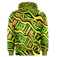 Yellow, green and oragne abstract art Men s Zipper Hoodie