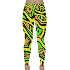 Yellow, green and oragne abstract art Yoga Leggings