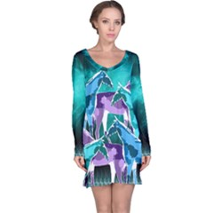 Horses under a galaxy Long Sleeve Nightdress