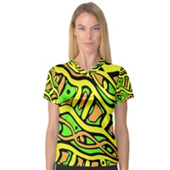 Yellow, green and oragne abstract art Women s V-Neck Sport Mesh Tee