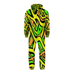 Yellow, green and oragne abstract art Hooded Jumpsuit (Kids)