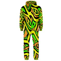 Yellow, green and oragne abstract art Hooded Jumpsuit (Men)