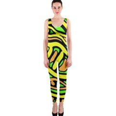 Yellow, green and oragne abstract art OnePiece Catsuit