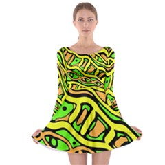 Yellow, green and oragne abstract art Long Sleeve Skater Dress