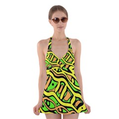 Yellow, Green And Oragne Abstract Art Halter Swimsuit Dress