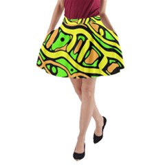Yellow, green and oragne abstract art A-Line Pocket Skirt