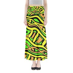 Yellow, Green And Oragne Abstract Art Maxi Skirts