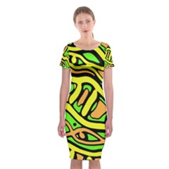 Yellow, green and oragne abstract art Classic Short Sleeve Midi Dress