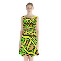 Yellow, green and oragne abstract art Sleeveless Waist Tie Dress