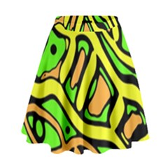 Yellow, green and oragne abstract art High Waist Skirt