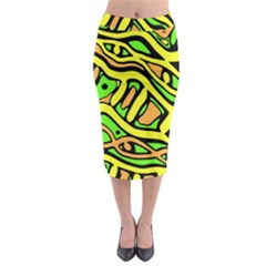 Yellow, green and oragne abstract art Midi Pencil Skirt
