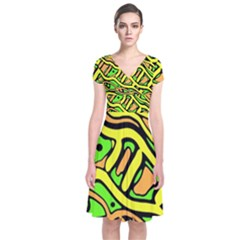 Yellow, green and oragne abstract art Short Sleeve Front Wrap Dress