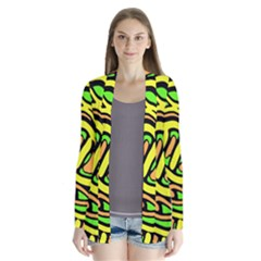 Yellow, green and oragne abstract art Drape Collar Cardigan