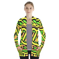 Yellow, Green And Oragne Abstract Art Women s Open Front Pockets Cardigan(p194)