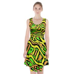 Yellow, green and oragne abstract art Racerback Midi Dress