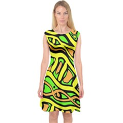 Yellow, green and oragne abstract art Capsleeve Midi Dress