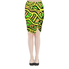 Yellow, green and oragne abstract art Midi Wrap Pencil Skirt