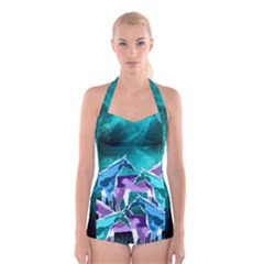 Horses Under A Galaxy Boyleg Halter Swimsuit