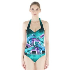 Horses under a galaxy Halter Swimsuit