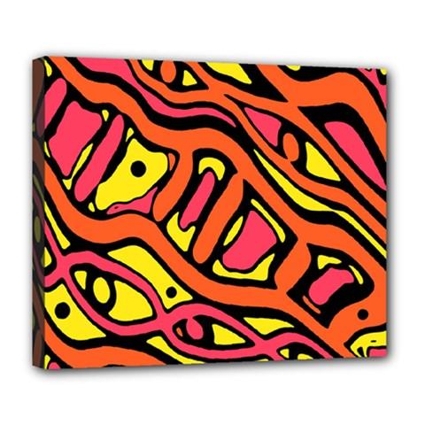 Orange hot abstract art Deluxe Canvas 24  x 20