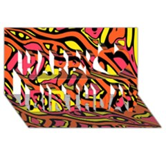 Orange hot abstract art Happy Birthday 3D Greeting Card (8x4)