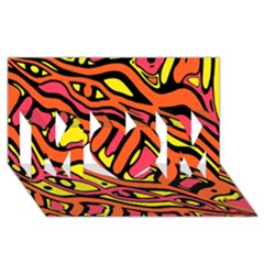 Orange hot abstract art MOM 3D Greeting Card (8x4)