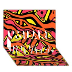 Orange hot abstract art YOU ARE INVITED 3D Greeting Card (7x5)
