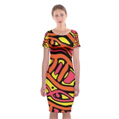 Orange Hot Abstract Art Classic Short Sleeve Midi Dress