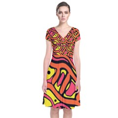 Orange Hot Abstract Art Short Sleeve Front Wrap Dress