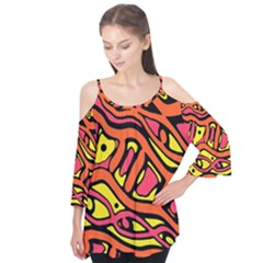 Orange Hot Abstract Art Flutter Tees