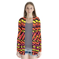 Orange hot abstract art Drape Collar Cardigan