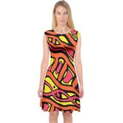 Orange Hot Abstract Art Capsleeve Midi Dress