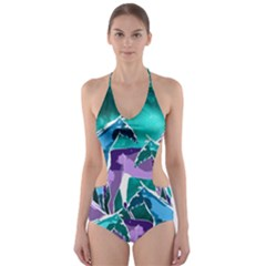 Horses under a galaxy Cut-Out One Piece Swimsuit