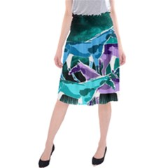 Horses under a galaxy Midi Beach Skirt
