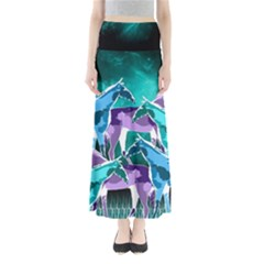 Horses under a galaxy Women s Maxi Skirt