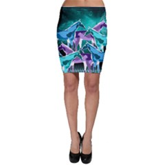 Horses under a galaxy Bodycon Skirt