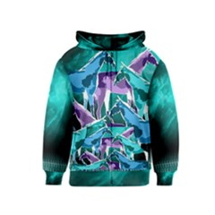 Horses Under A Galaxy Kids  Zipper Hoodie