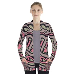 Decorative abstract art Women s Open Front Pockets Cardigan(P194)