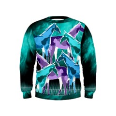 Horses under a galaxy Kids  Sweatshirt