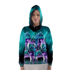 Horses Under A Galaxy Hooded Wind Breaker (women)