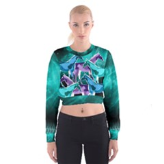 Horses under a galaxy Women s Cropped Sweatshirt
