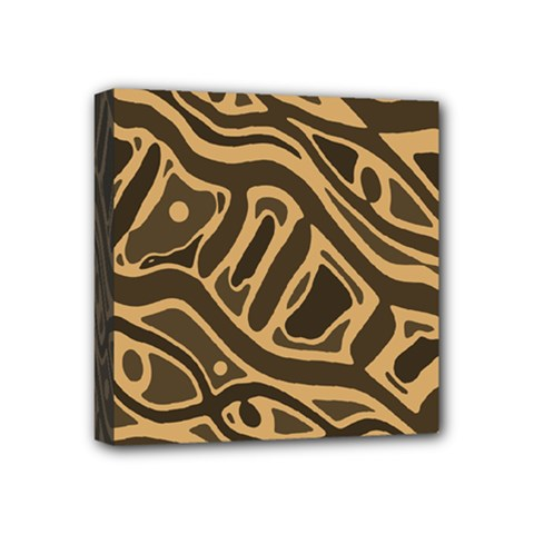 Brown abstract art Mini Canvas 4  x 4