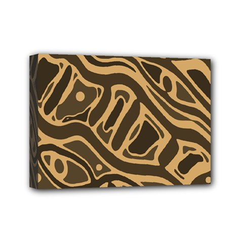 Brown abstract art Mini Canvas 7  x 5