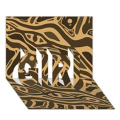 Brown abstract art GIRL 3D Greeting Card (7x5)