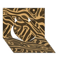 Brown abstract art Heart 3D Greeting Card (7x5)