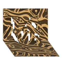 Brown abstract art LOVE 3D Greeting Card (7x5)