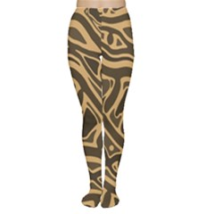 Brown abstract art Women s Tights